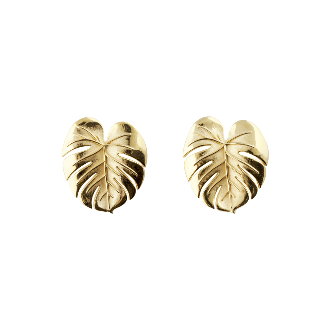 Palm Leaf Earrings Gold in the group SHOP / EARRINGS at EMMA ISRAELSSON (ear083)