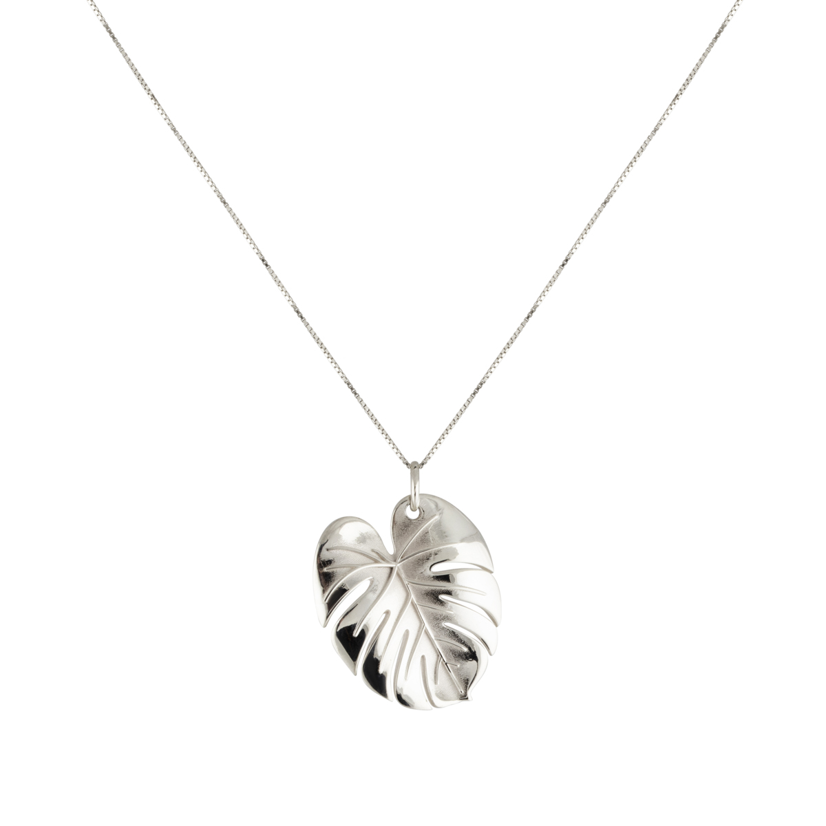 PALM LEAF NECKLACE SILVER L in the group NECKLACES at EMMA ISRAELSSON (neck099)