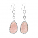 DROP PINK EARRINGS SILVER