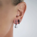 DROP PIN BLACK EARRINGS